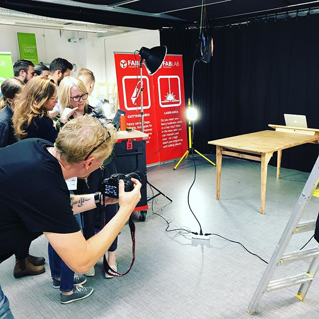 Photoshoot with student projects at #fablab #summercourse #designprojekt #högskolanhalmstad #stolab1907