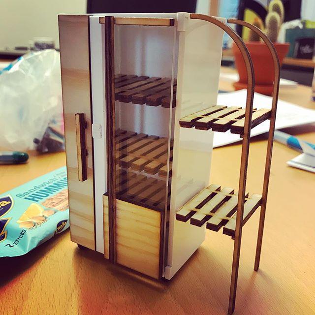 Tiny model of a fridge. ️ laser cutting. #lasercutting #modelmaking #design #urbanplanning #halmstaduniversity