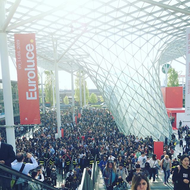 Visiting a very crowded Salone del Mobile!