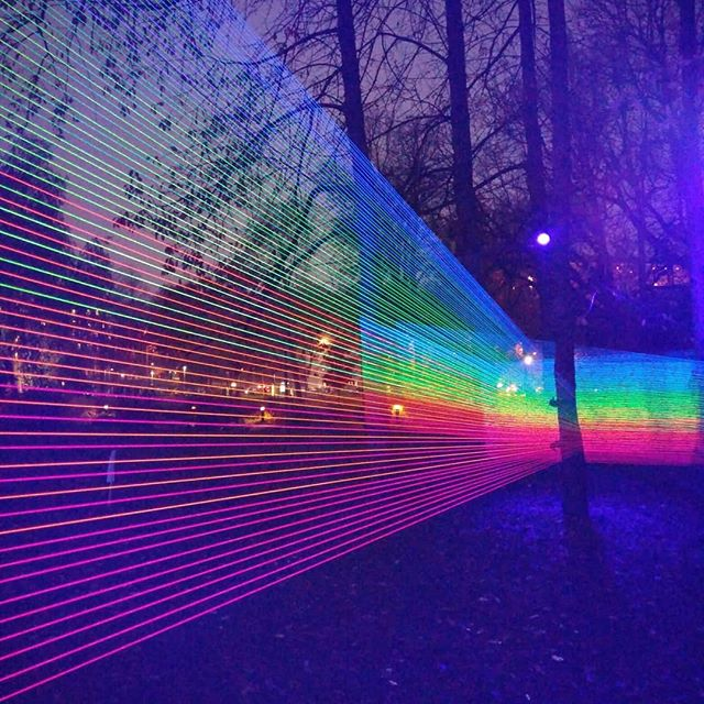Inspiring glowing light and colour installation in a park in Uppsala#lightart #lightinstallation